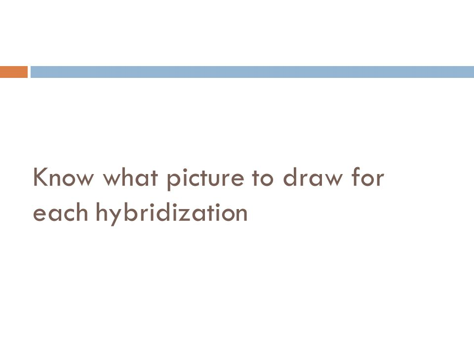 Know what picture to draw for each hybridization