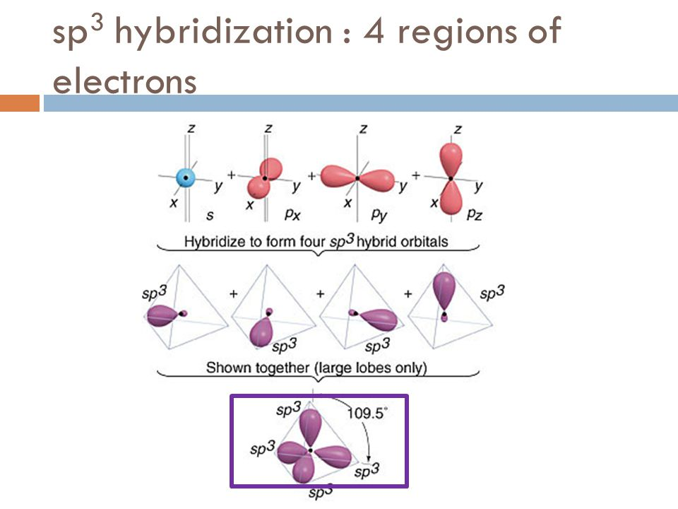 sp 3 hybridization : 4 regions of electrons