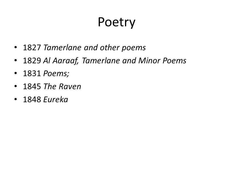 Poetry 1827 Tamerlane and other poems 1829 Al Aaraaf, Tamerlane and Minor Poems 1831 Poems; 1845 The Raven 1848 Eureka