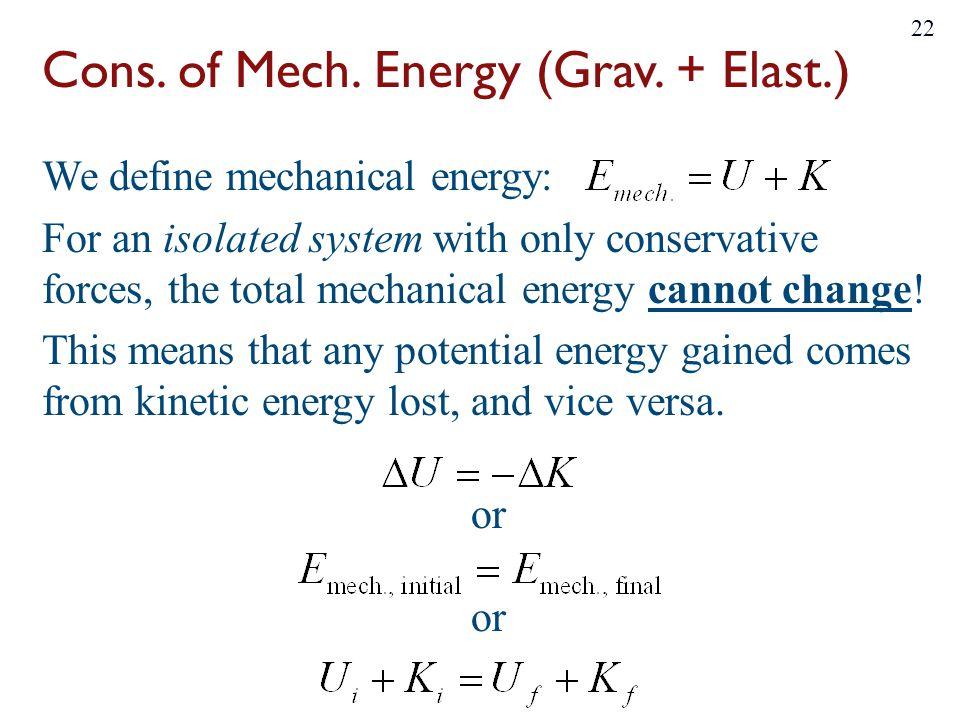 Cons.of Mech. Energy (Grav.