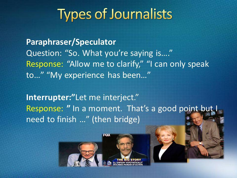 Paraphraser/Speculator Question: So.
