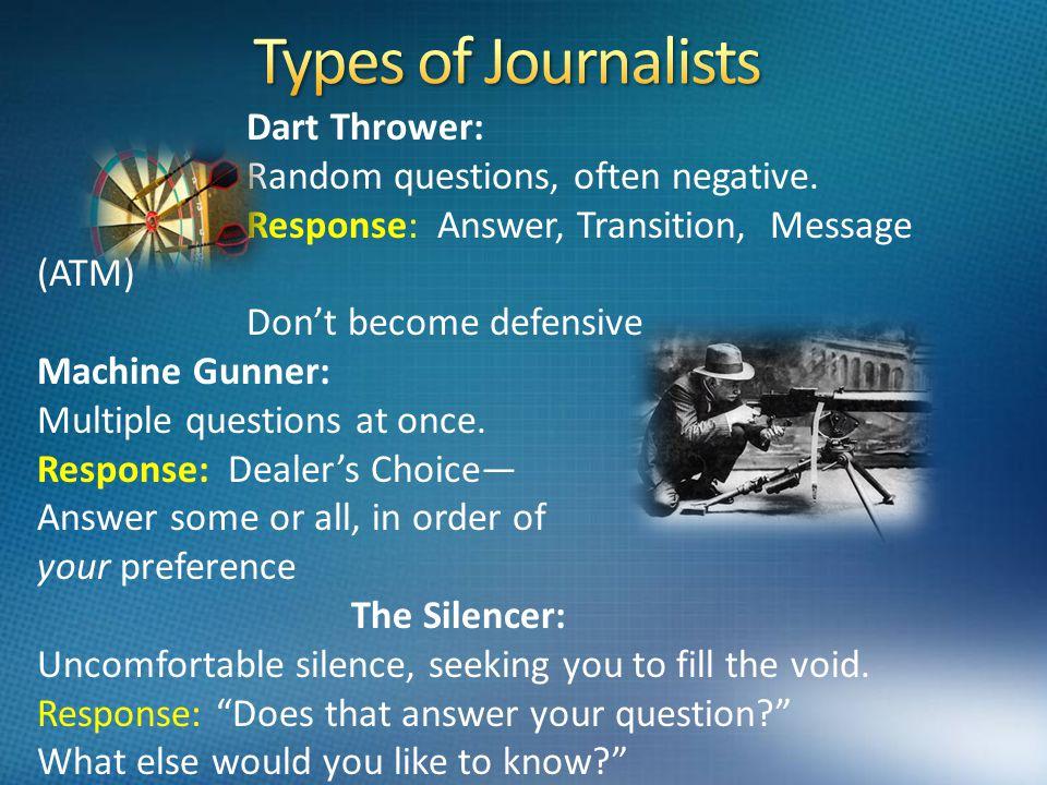 Dart Thrower: Random questions, often negative.