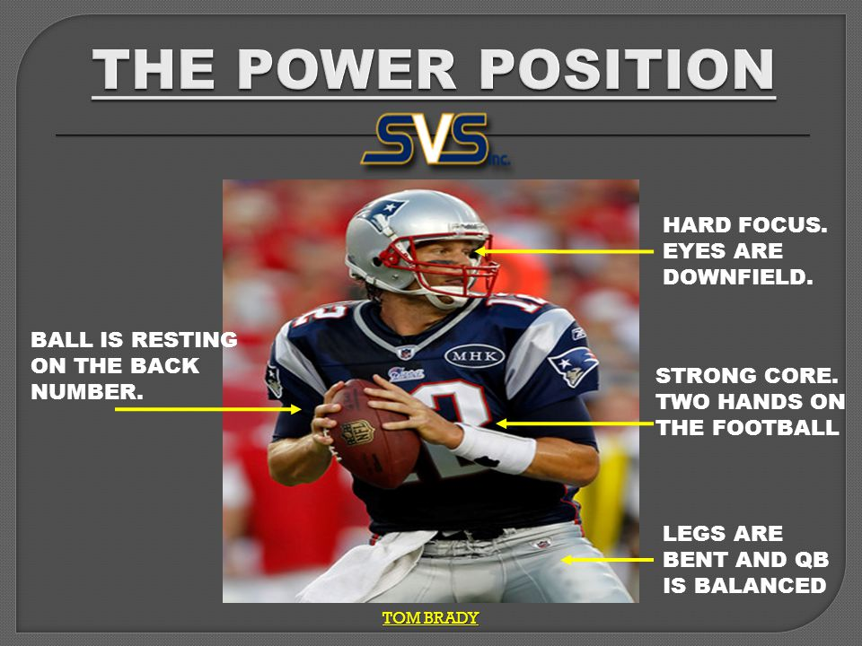 TOM BRADY BALL IS RESTING ON THE BACK NUMBER. LEGS ARE BENT AND QB IS BALANCED STRONG CORE.