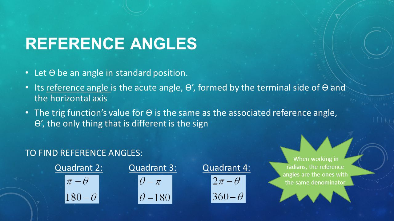 REFERENCE ANGLES Let Ө be an angle in standard position.