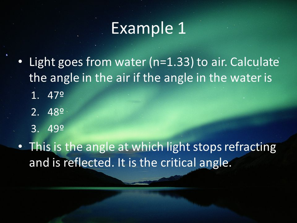 Example 1 Light goes from water (n=1.33) to air.