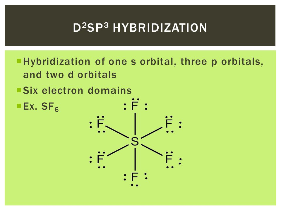  Hybridization of one s orbital, three p orbitals, and two d orbitals  Six electron domains  Ex.