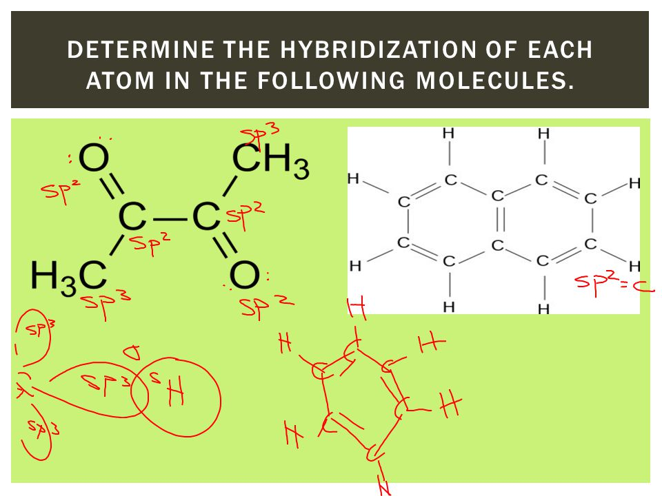 DETERMINE THE HYBRIDIZATION OF EACH ATOM IN THE FOLLOWING MOLECULES.