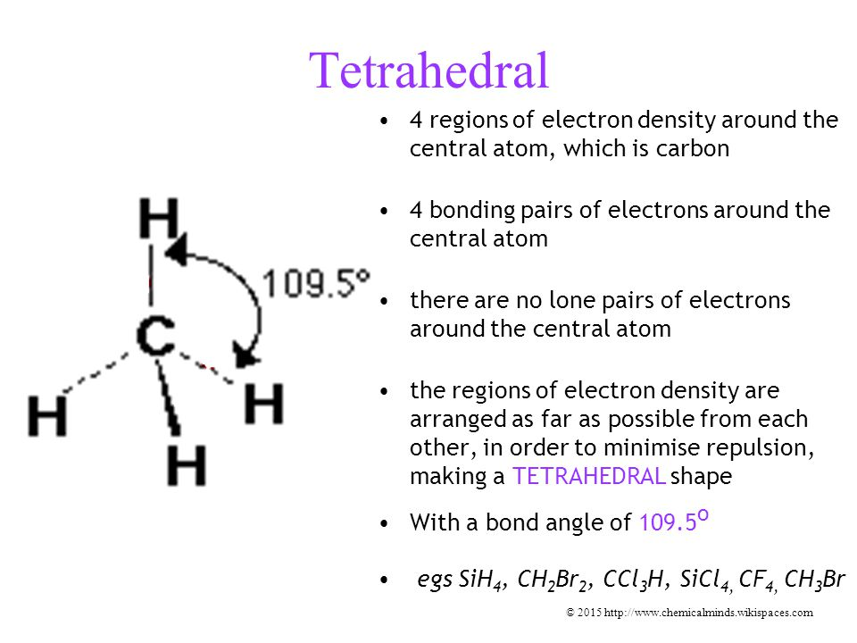 Tetrahedral 4 regions of electron density around the central atom, which is carbon 4 bonding pairs of electrons around the central atom there are no lone pairs of electrons around the central atom the regions of electron density are arranged as far as possible from each other, in order to minimise repulsion, making a TETRAHEDRAL shape With a bond angle of 109.5 o egs SiH 4, CH 2 Br 2, CCl 3 H, SiCl 4, CF 4, CH 3 Br © 2015 http://www.chemicalminds.wikispaces.com