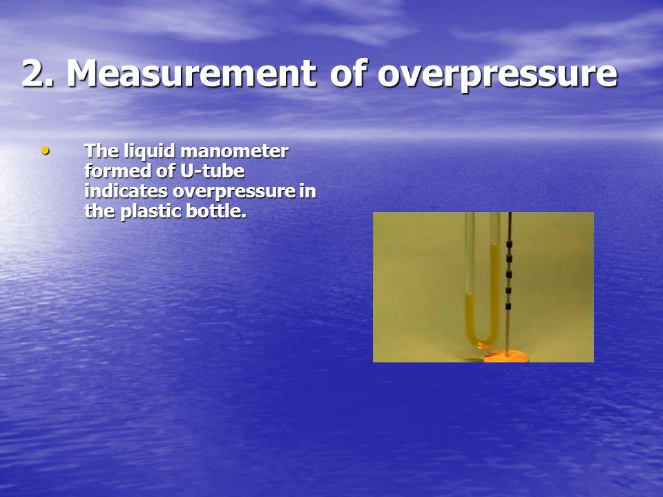 2. Measurement of overpressure The liquid manometer formed of U-tube indicates overpressure in the plastic bottle. The liquid manometer formed of U-tu