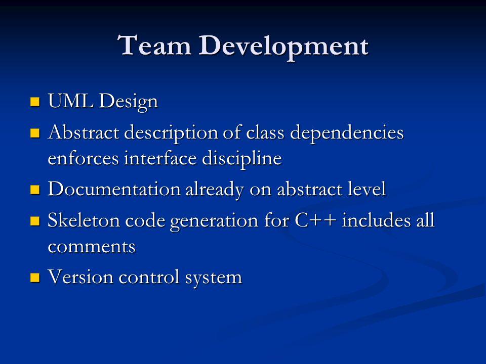 Team Development UML Design UML Design Abstract description of class dependencies enforces interface discipline Abstract description of class dependen