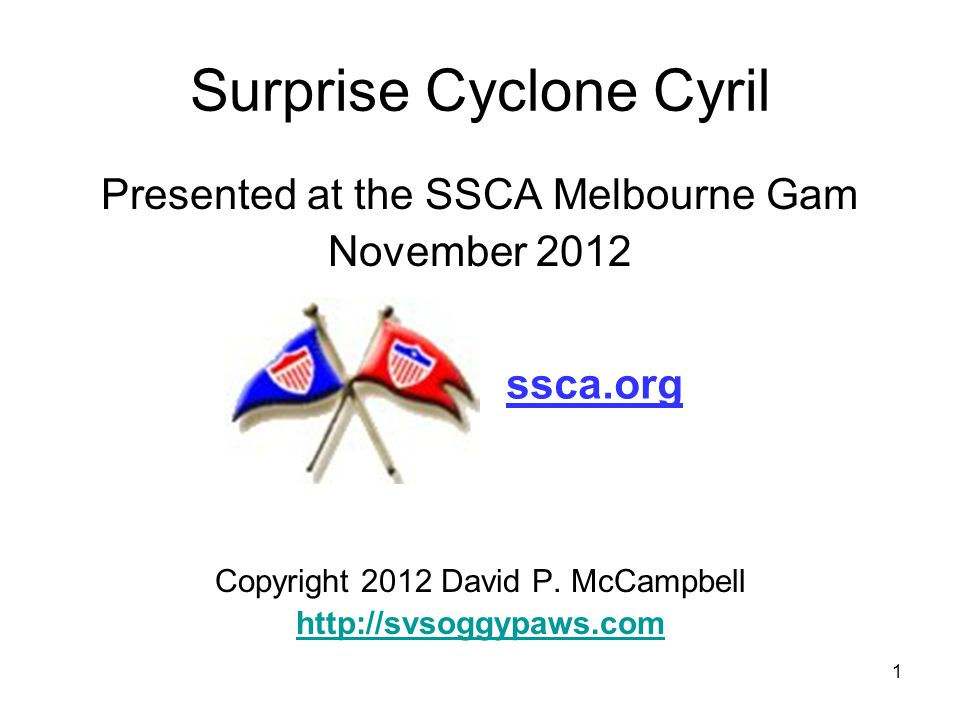 2 SURPRISE CYCLONE CYRIL Dave & Sherry McCampbell Storm Experience: –16 years aboard –Ten hurricanes & one cyclone –Three 60 kt surprise storms at anchor This presentation at: SVSoggypaws.com Nuka Hiva