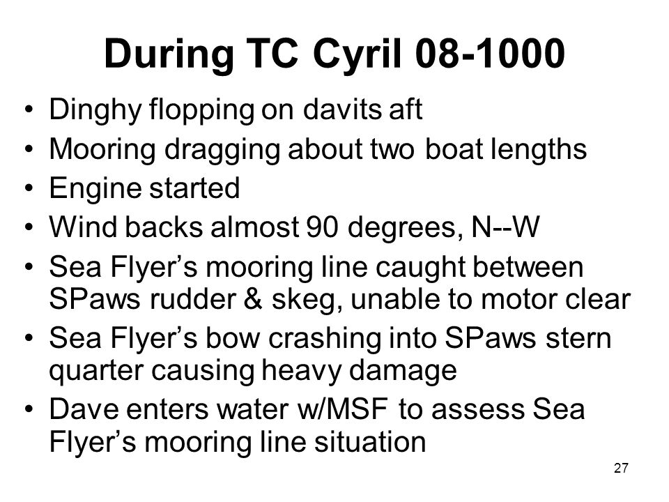27 During TC Cyril 08-1000 Dinghy flopping on davits aft Mooring dragging about two boat lengths Engine started Wind backs almost 90 degrees, N--W Sea Flyer's mooring line caught between SPaws rudder & skeg, unable to motor clear Sea Flyer's bow crashing into SPaws stern quarter causing heavy damage Dave enters water w/MSF to assess Sea Flyer's mooring line situation