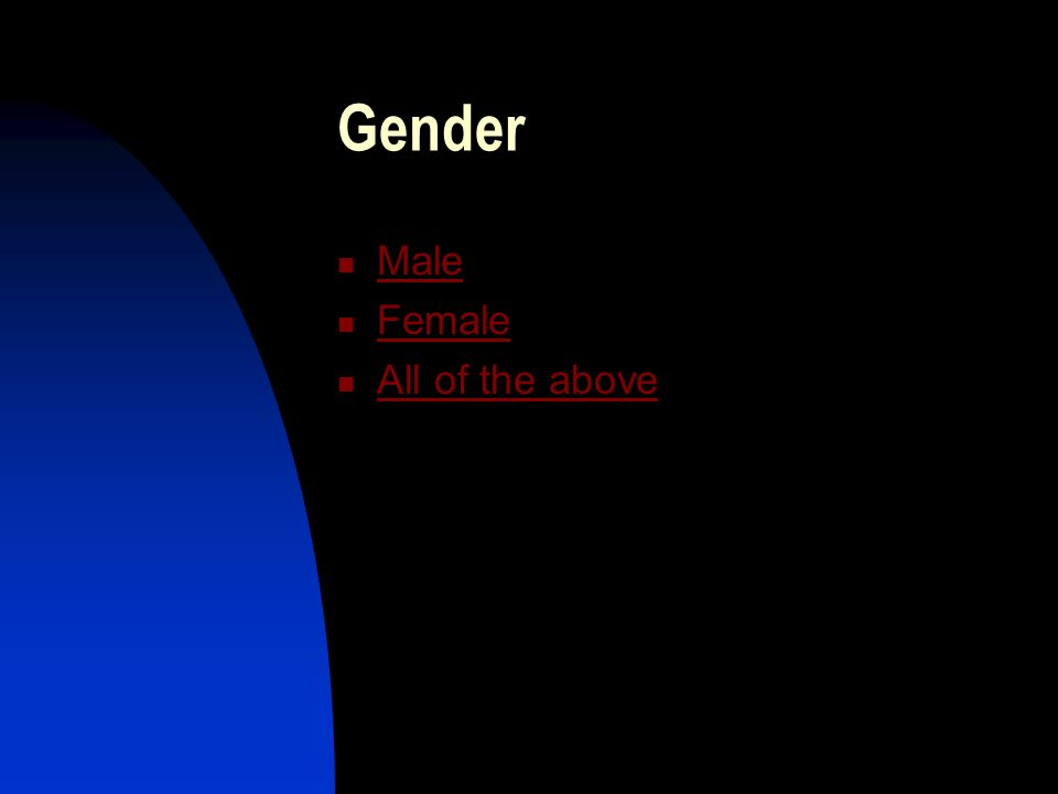 Gender Male Female All of the above