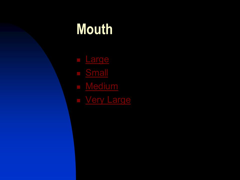 Mouth Large Small Medium Very Large