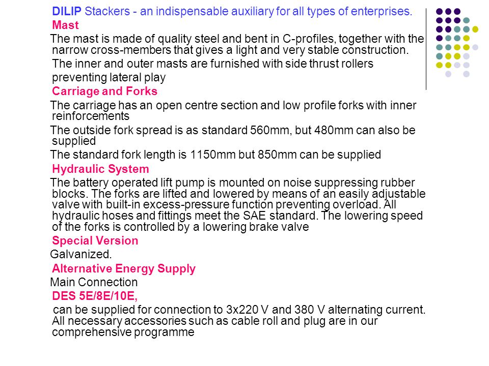 DES 5E Hydraulic Pump 12V electro-hydraulic pump 1.5 Kw/2600 rpm Lifting Speed Unladen : 0.25m/sec.