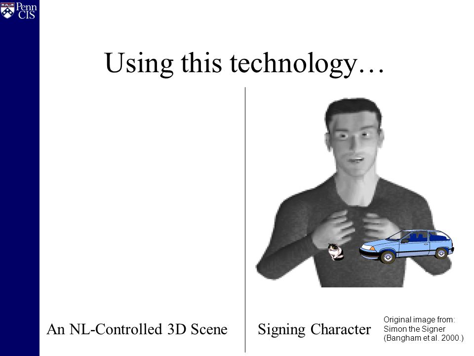 Using this technology… An NL-Controlled 3D Scene Original image from: Simon the Signer (Bangham et al. 2000.) Signing Character