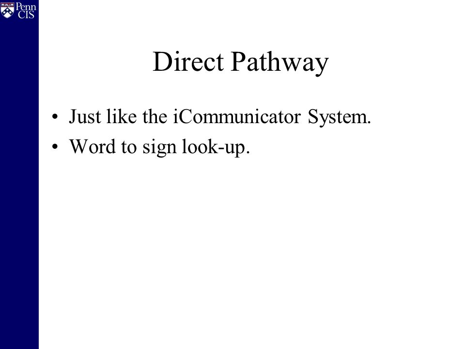 Direct Pathway Just like the iCommunicator System. Word to sign look-up.