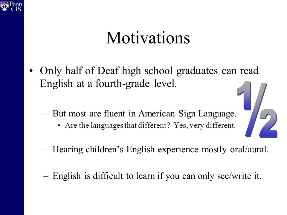 Only half of Deaf high school graduates can read English at a fourth-grade level. –But most are fluent in American Sign Language. Are the languages th