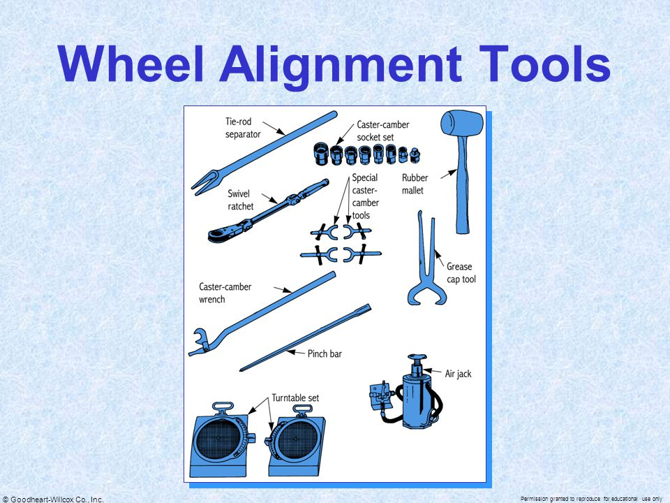 © Goodheart-Willcox Co., Inc. Permission granted to reproduce for educational use only Wheel Alignment Tools