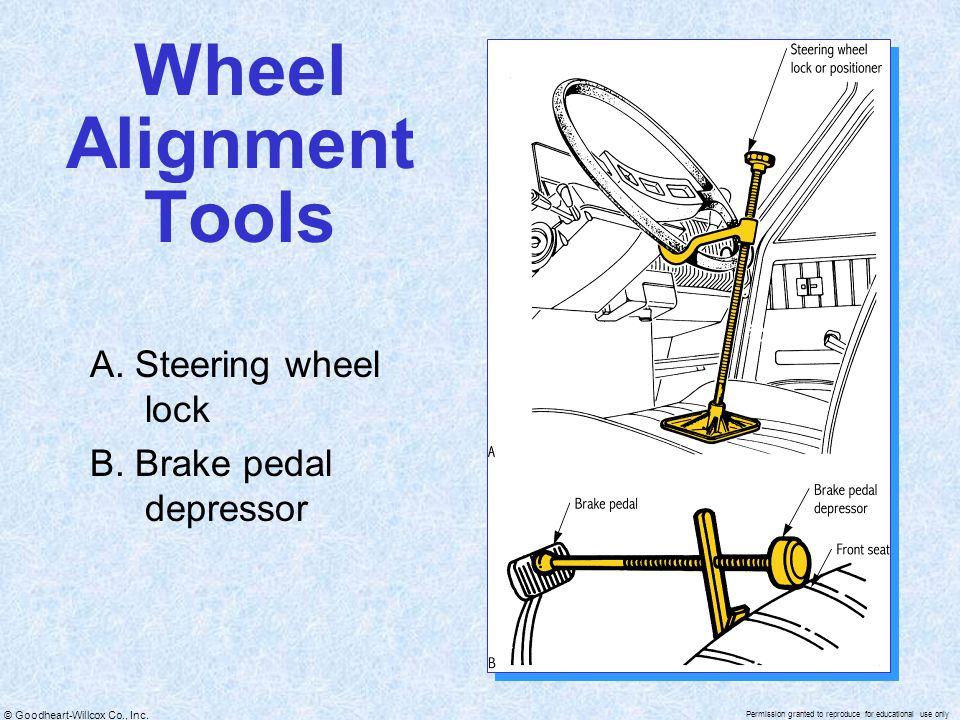 © Goodheart-Willcox Co., Inc. Permission granted to reproduce for educational use only Wheel Alignment Tools A. Steering wheel lock B. Brake pedal dep
