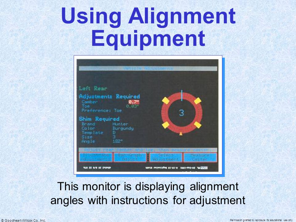 © Goodheart-Willcox Co., Inc. Permission granted to reproduce for educational use only Using Alignment Equipment This monitor is displaying alignment