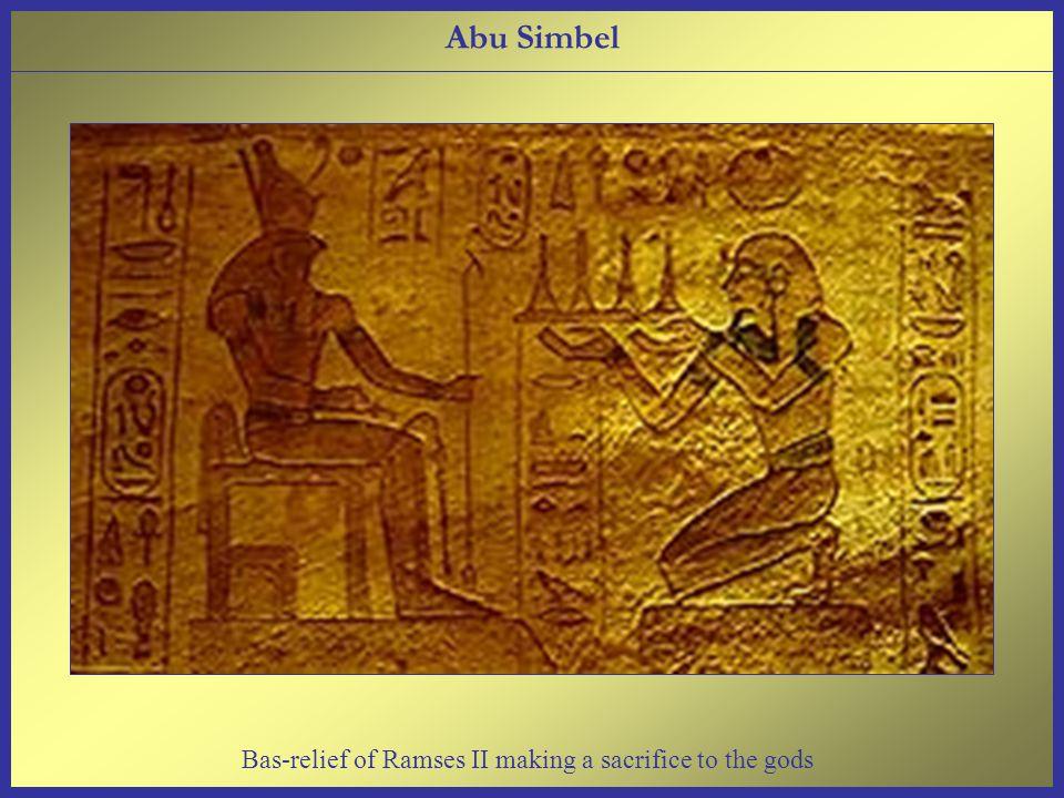 Abu Simbel Bas-relief of Ramses II making a sacrifice to the gods