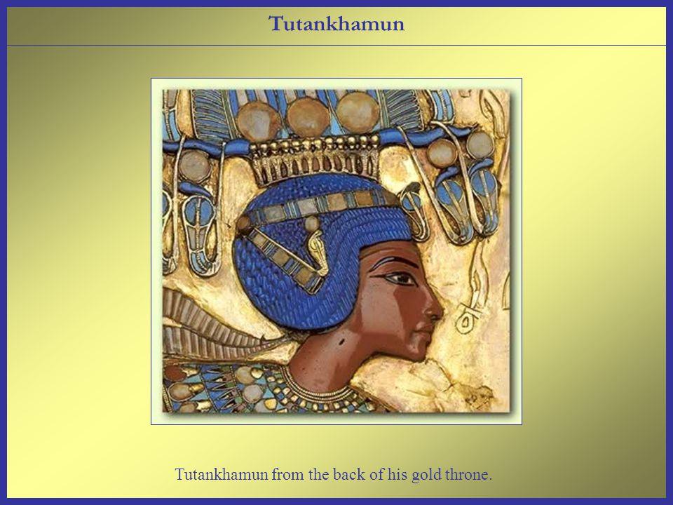 Tutankhamun from the back of his gold throne. Tutankhamun