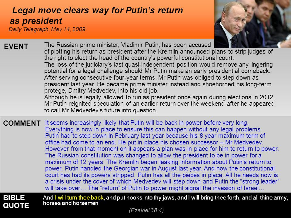 Legal move clears way for Putin's return as president The Russian prime minister, Vladimir Putin, has been accused of plotting his return as president