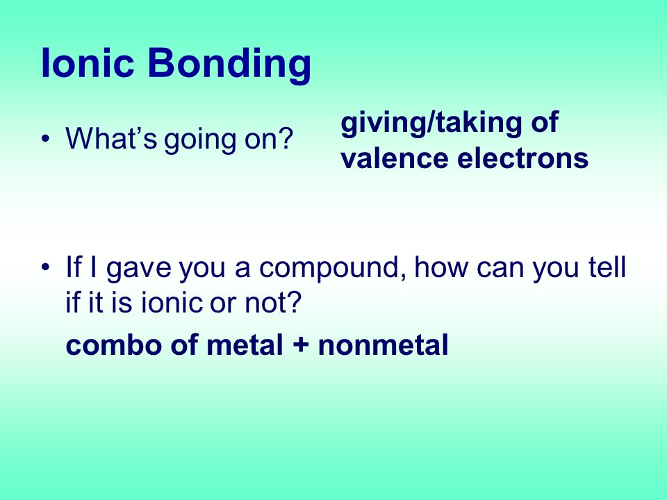 Ionic Bonding What's going on. If I gave you a compound, how can you tell if it is ionic or not.