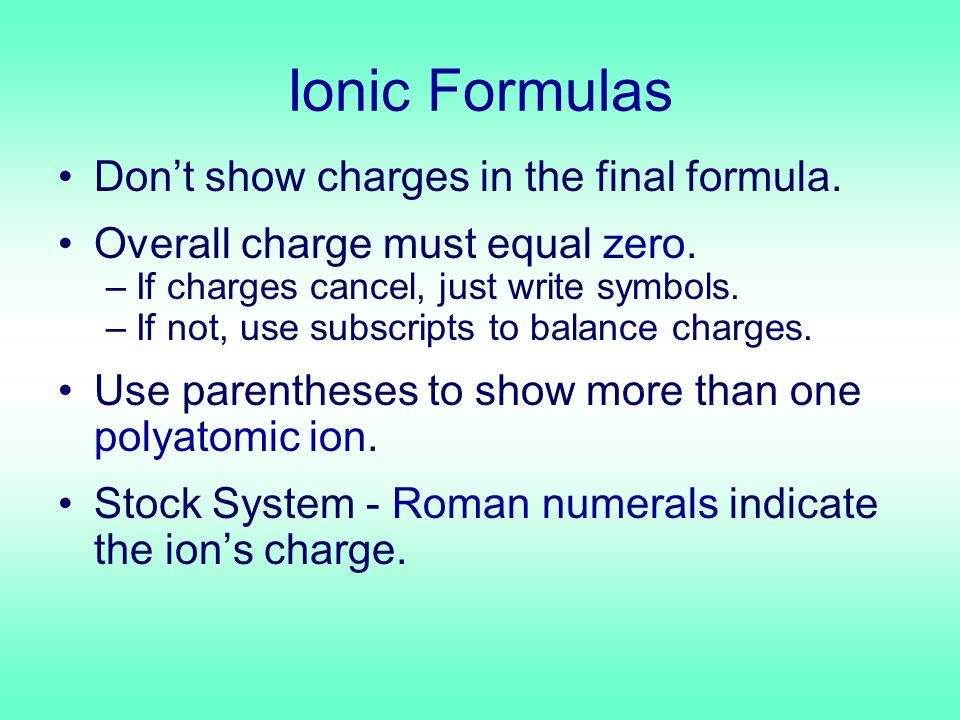 Ionic Formulas Don't show charges in the final formula.