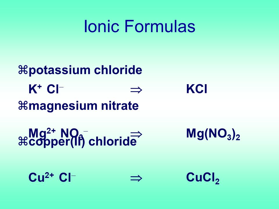 zpotassium chloride zmagnesium nitrate zcopper(II) chloride K + Cl  Mg 2+ NO 3  Cu 2+ Cl   KCl  Mg(NO 3 ) 2  CuCl 2 Ionic Formulas