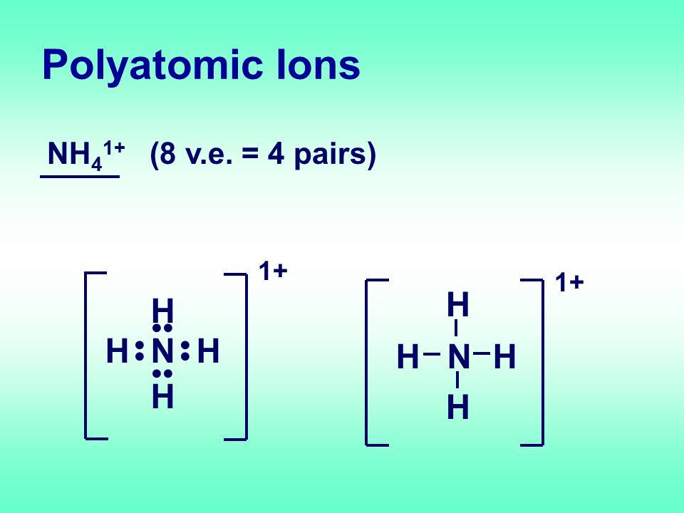 Polyatomic Ions NH 4 1+ (8 v.e. = 4 pairs) H H HHN 1+ H H HH N 1+