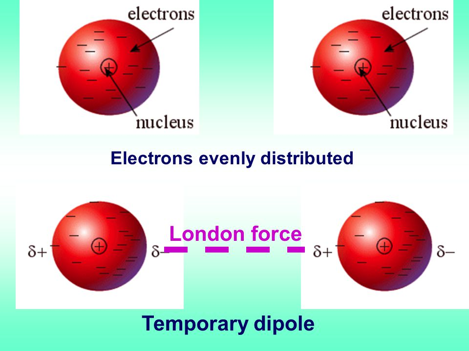 Electrons evenly distributed Temporary dipole London force