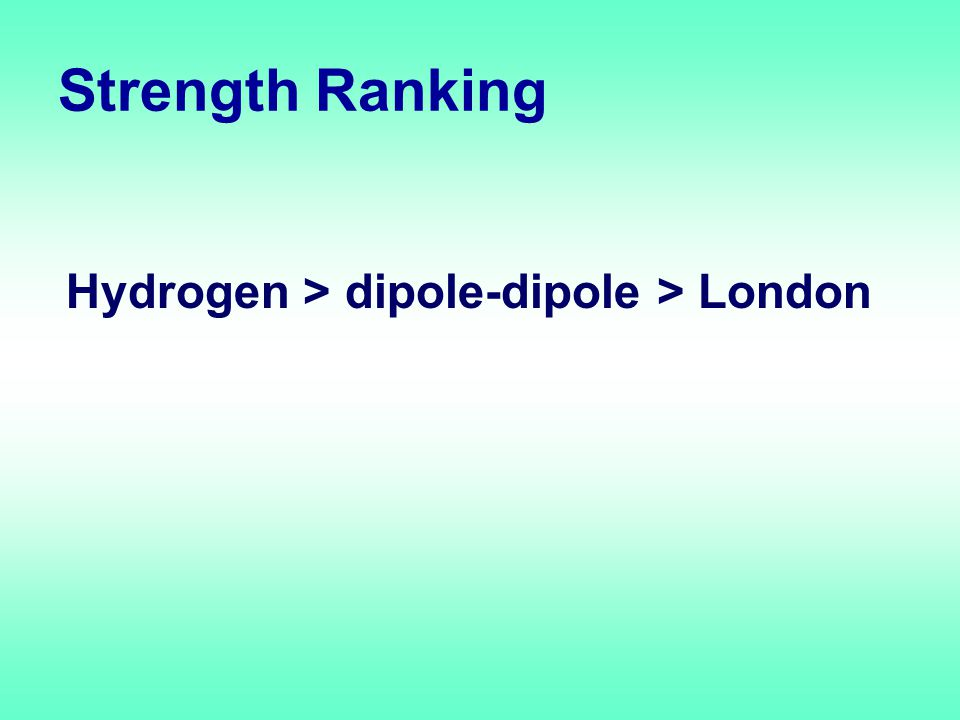 Strength Ranking Hydrogen > dipole-dipole > London
