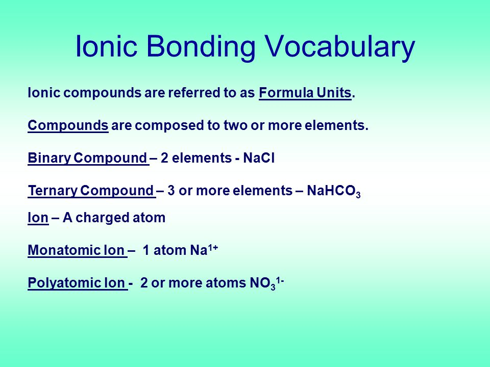 Ionic Bond Defn – force holding cations and anions together ABA+A+ B-B- Ionic bond Cations – positively charged ions Anions – negatively charged ions