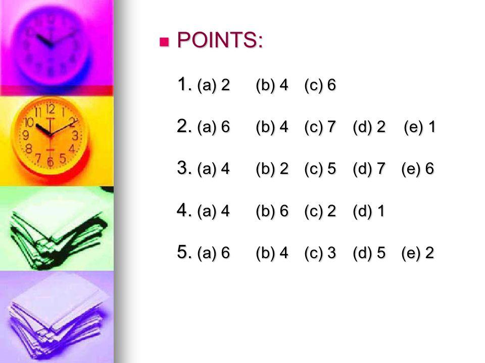 POINTS: 1. (a) 2 (b) 4 (c) 6 2. (a) 6 (b) 4 (c) 7 (d) 2 (e) 1 3.