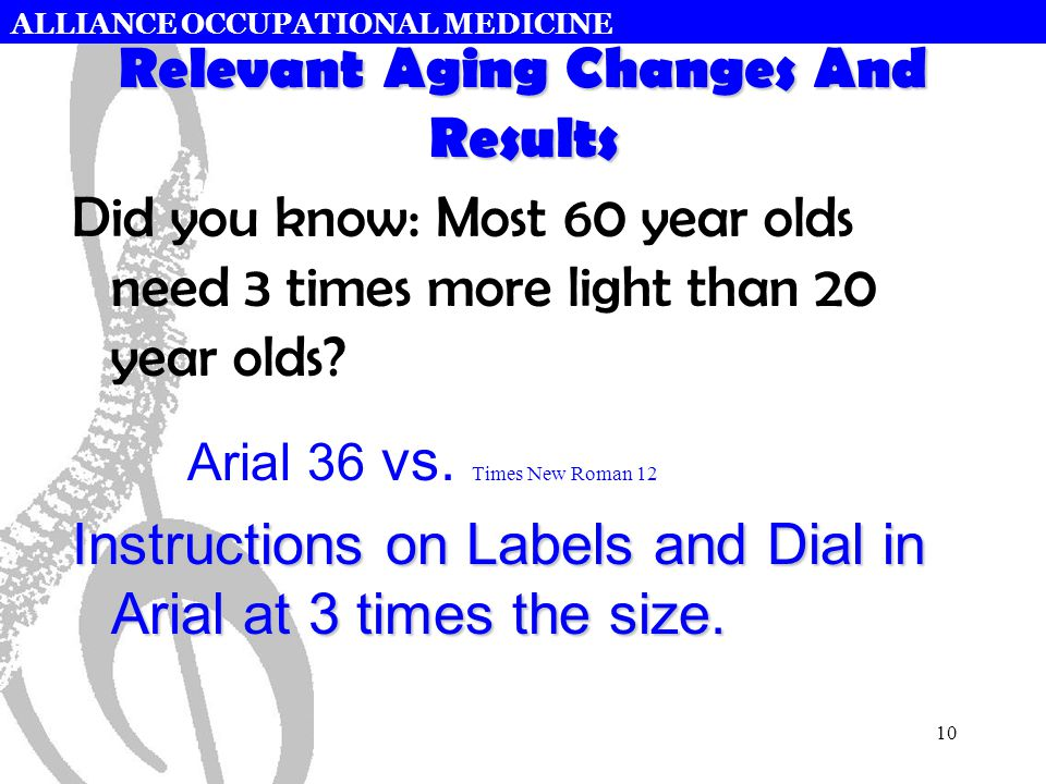 ALLIANCE OCCUPATIONAL MEDICINE 10 Relevant Aging Changes And Results Did you know: Most 60 year olds need 3 times more light than 20 year olds? Arial