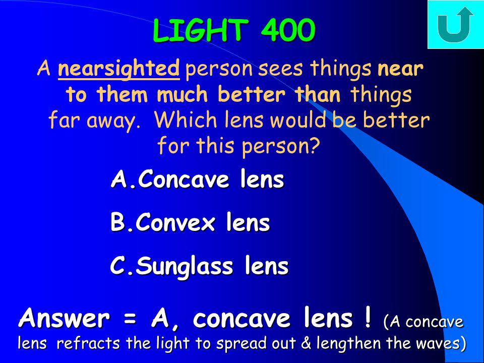 LIGHT 300 A farsighted person sees things far away much better than near.