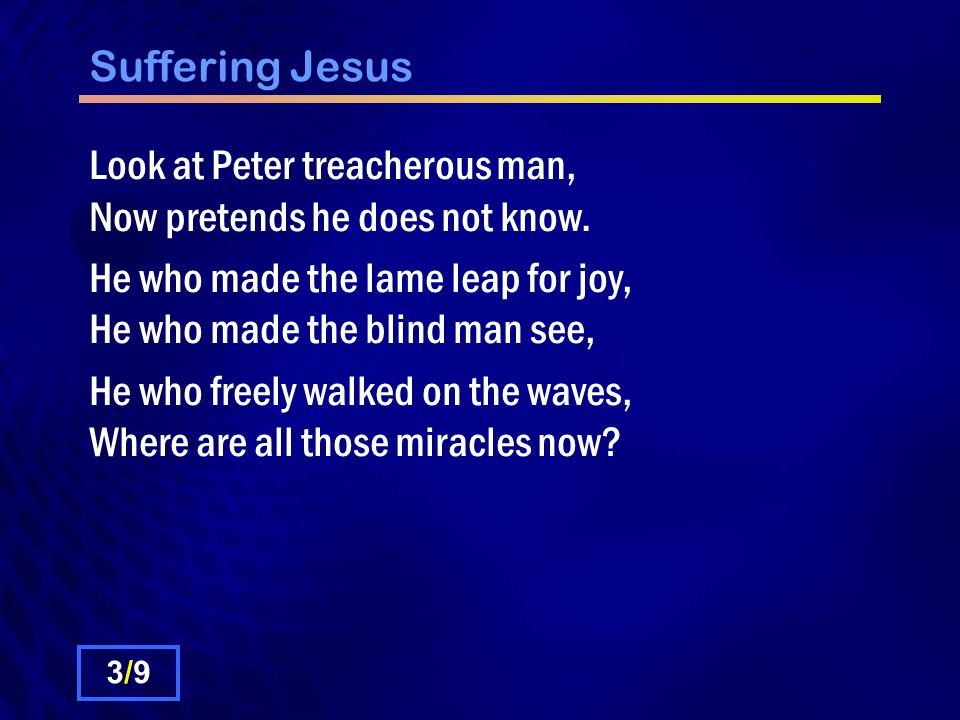 Suffering Jesus Look at Peter treacherous man, Now pretends he does not know.