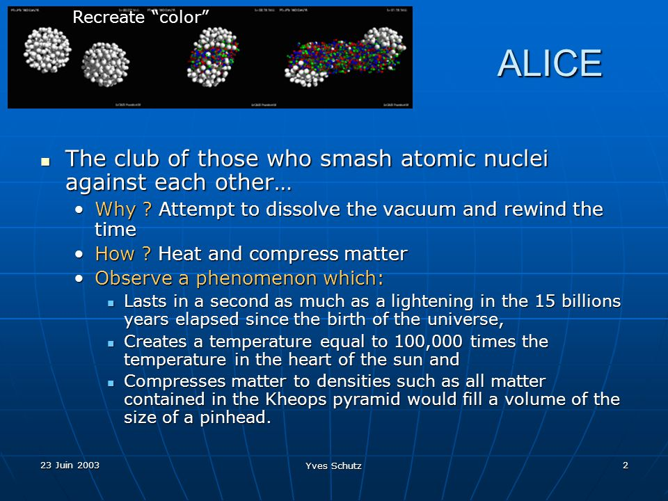 23 Juin 2003 Yves Schutz 2 ALICE ALICE The club of those who smash atomic nuclei against each other… The club of those who smash atomic nuclei against