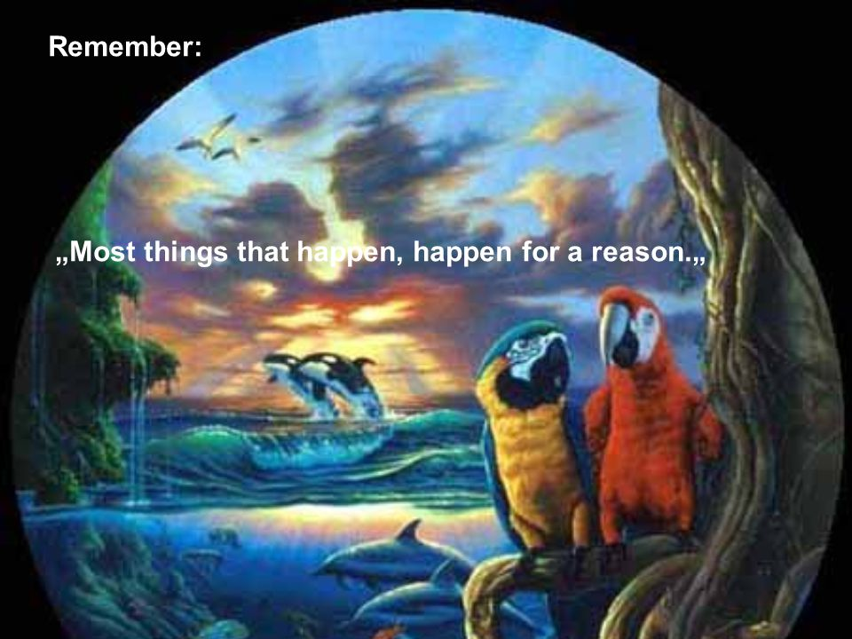 "Remember: ""Most things that happen, happen for a reason."""