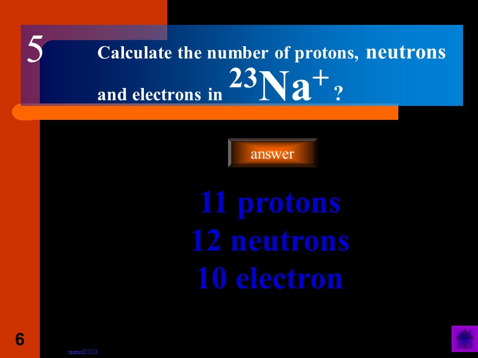 mmcl2003 5 Calculate the number of protons, neutrons and electrons in 31 P .