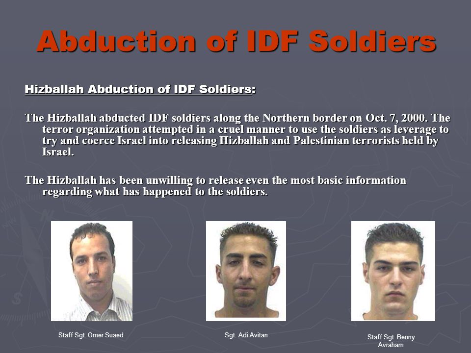 Abduction of IDF Soldiers Prevention: The IDF is doing its utmost to train and instruct its soldiers how to avoid being abducted.