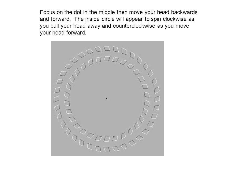 Focus on the dot in the middle then move your head backwards and forward.