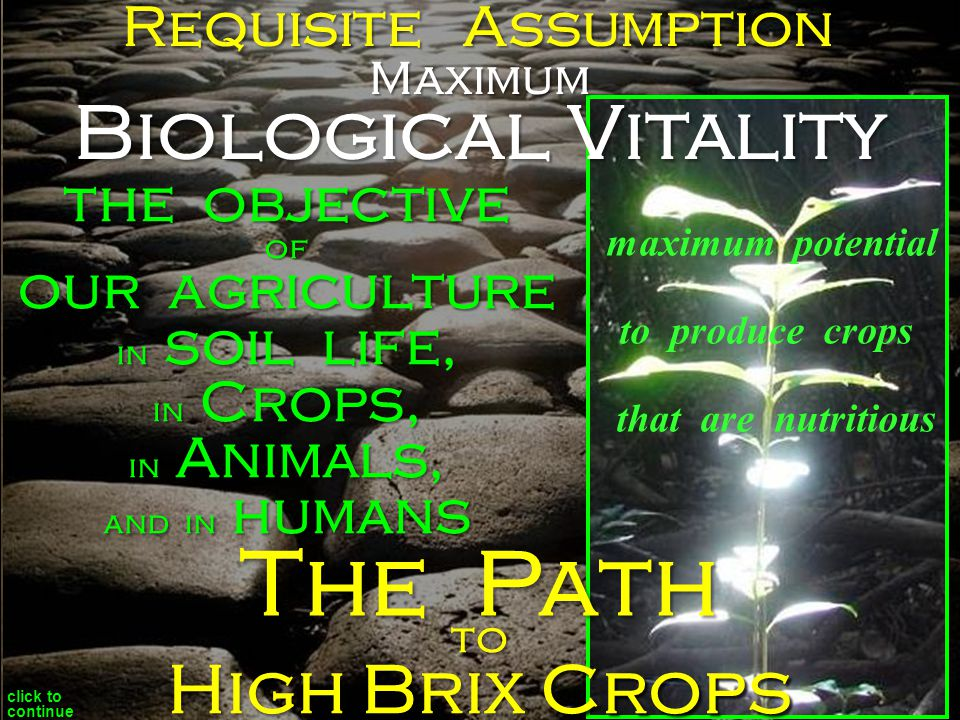 the objective of our agriculture in soil life, in Crops, in Animals, and in humans to Requisite Assumption maximum potential to produce crops that are nutritious click to continue The Path Maximum Biological Vitality High Brix Crops
