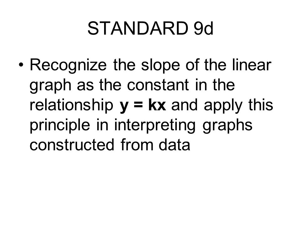 STANDARD 9d Recognize the slope of the linear graph as the constant in the relationship y = kx and apply this principle in interpreting graphs constructed from data