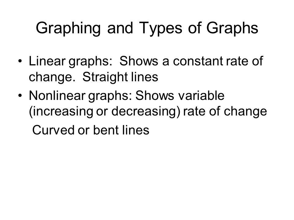 Graphing and Types of Graphs Linear graphs: Shows a constant rate of change.
