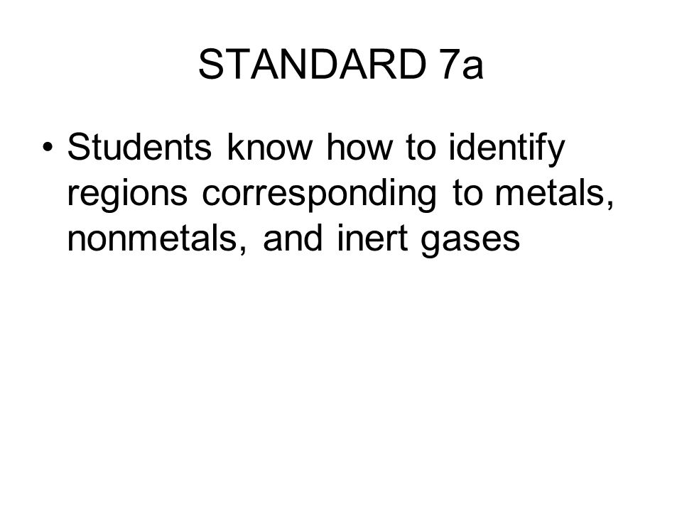 STANDARD 7a Students know how to identify regions corresponding to metals, nonmetals, and inert gases