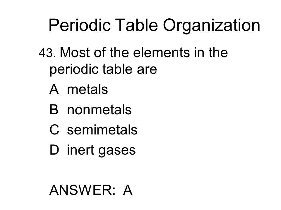 Periodic Table Organization 43.