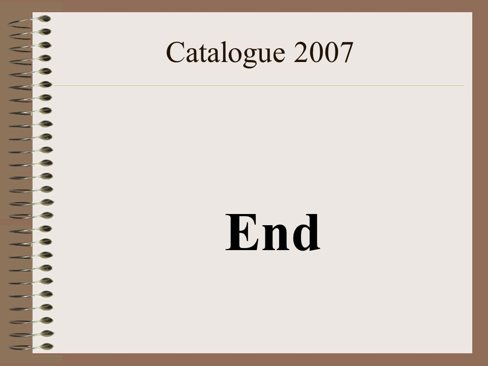 Catalogue 2007 End